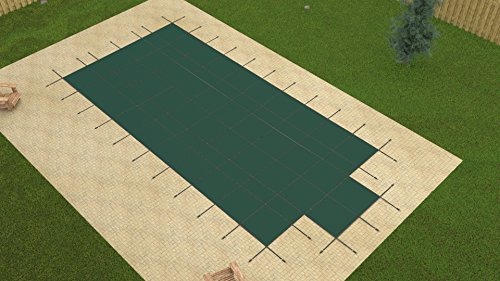 Yard Guard 16'x32' Rectangle Green MESH in-Ground Swimming Pool Safety Cover w/4'x8' CES ()