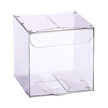 BENECREAT 30 Pack Caja Plegable Cajita Plástica Envase Transparente de Regalo Contenedor de Dulce Chocolate para Boda Fiesta Cumpleaños 7x7x7cm: Amazon.es: ...