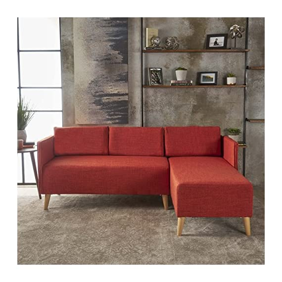 Christopher Knight Home Andresen Mid Century Modern Muted Orange Fabric Chaise Sectional, Natural - Includes: one (1) chaise sectional and one (1) Loveseat sectional Chaise dimensions: 51. 00 inches deep x 26. 00 inches wide x 31. 00 inches high Seat Height: 18. 00 inches Loveseat dimensions: 26. 00 inches deep x 51. 00 inches wide x 31. 00 inches high Seat Height: 18. 00 inches Material: fabric, Fabric composition: 100% polyester - sofas-couches, living-room-furniture, living-room - 51VTDm6EAPL. SS570  -