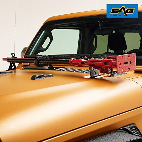EAG Hi Lift Jack Mount Hood Hinge/Door Hinge Bracket Fit for 2007-2019 Jeep Wrangler JK -