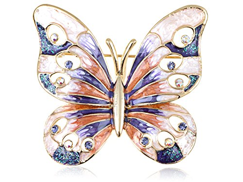 (Alilang Swarovski Crystal Elements Opalescent Swirl Colors Vibrant Butterfly Pin)