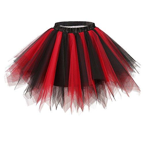 Ellames Women's Vintage 1950s Tutu Petticoat Ballet Bubble Dance Skirt Black-Red S/M