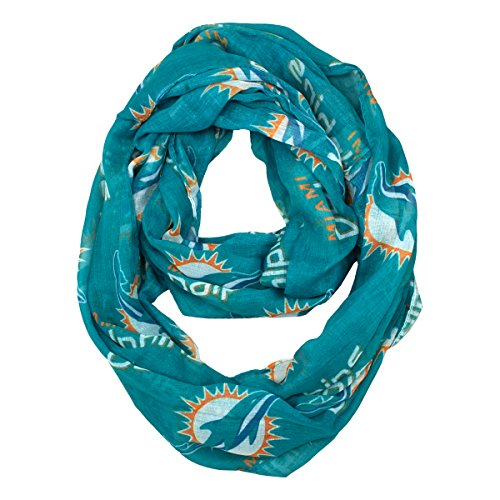 NFL Miami Dolphins Sheer Infinity Scarf, Blue, One - Miami Mall Dolphin