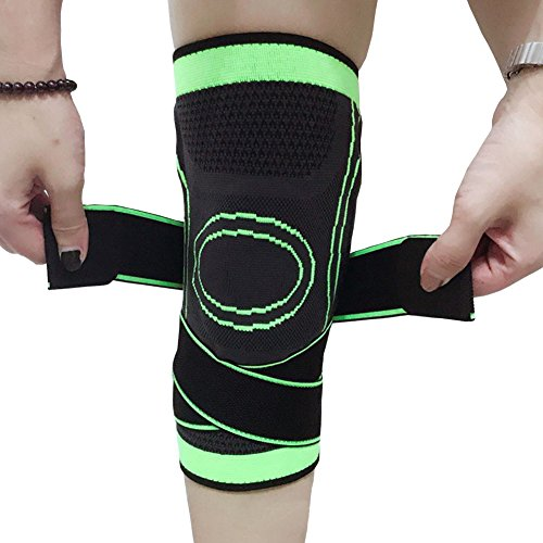 Knee Sleeve, Compression Knee Brace with Adjustable Strap - for Joint Pain and Arthritis Relief, Knee Support for Running, Hiking, Basketball -Size S M L - Single (Green, - Brake Joint Line Compression