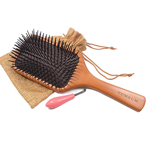 YUMSUM Large Square Wooden Hair Paddle Brush Scalp Massage Comb for Womens Medium to Thick Long Hairs (Black)