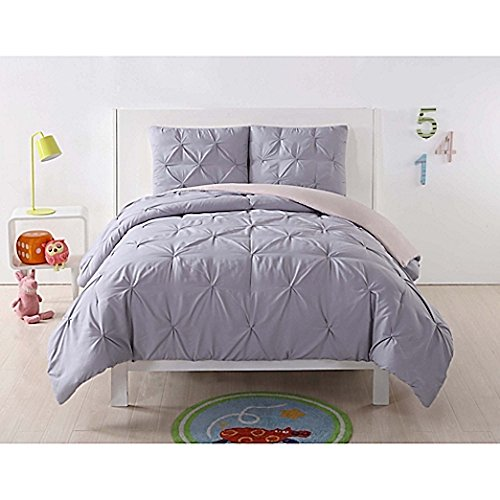 ted Reversible Comforter Set, Full/Queen, Lavender/Blush Pleated ()
