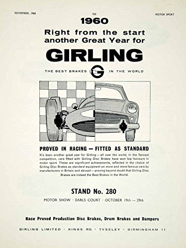 1960 Ad Girling Disc Drum Brakes Dampers Car Auto Parts Formula One Racing YMT2 - Original Print Ad (Damper Racing)