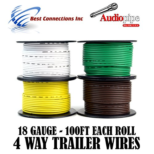 Trailer Wire Light Cable for Harness 4 Way Cord 18 Gauge - 100ft roll - 4 Rolls by Audiopipe