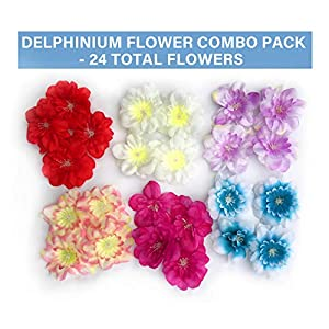 Tassel Toppers Delphinium Flower Heads - Peel and Stick Flat Back Flowers for Grad Cap Decoration - Assorted Colors - Flowers, Floral Stickers, Adhesive 58