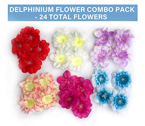 Tassel Toppers Delphinium Flower Heads - Peel and Stick Flat Back Flowers for Grad Cap Decoration - Assorted Colors - Flowers, Floral Stickers, Adhesive -