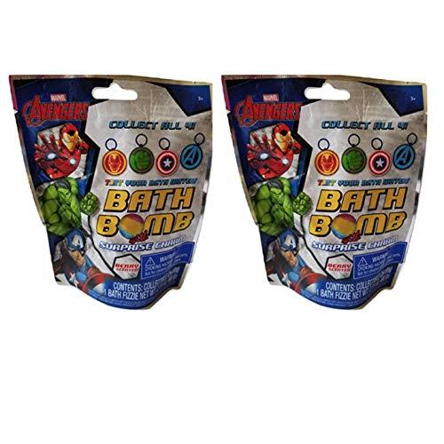 Kids Bath Bombs - Set of 2 Character Color-Twist Bath Bombs WITH SURPRISE CHARM INSIDE - Fizzes & Vibrant Colors (Avengers Surprise Charm Berry) ()