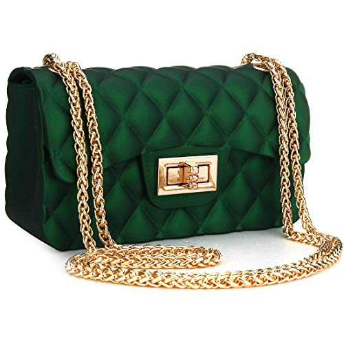 Women Fashion Jelly Shoulder Bag Mini Clutch Handbag Crossbody Bags with Chain Strap (Dark green)