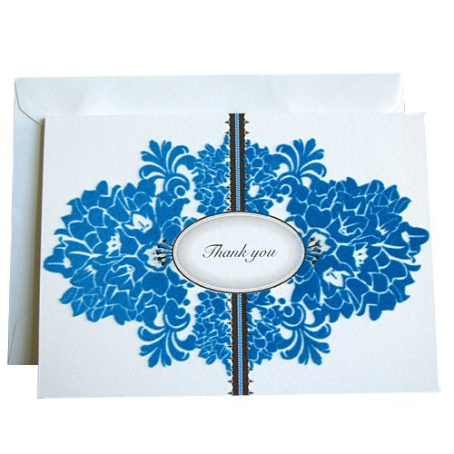 Signature Line Boxed Thank You Cards in White with Flocking   Rungtong & Co. Stationery Line