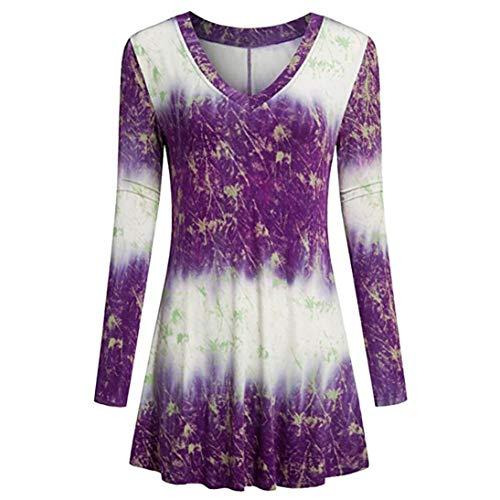 Plus Size Tops,Toimoth Fashion Women Ladies Long Sleeve V-Neck Print Loose Tops T-Shirt Blouse (Purple,XL)