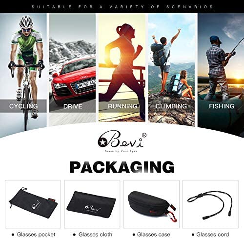 Bevi Polarized Sports Sunglasses for Women and Men Driving Shades Cycling Running UV Protection