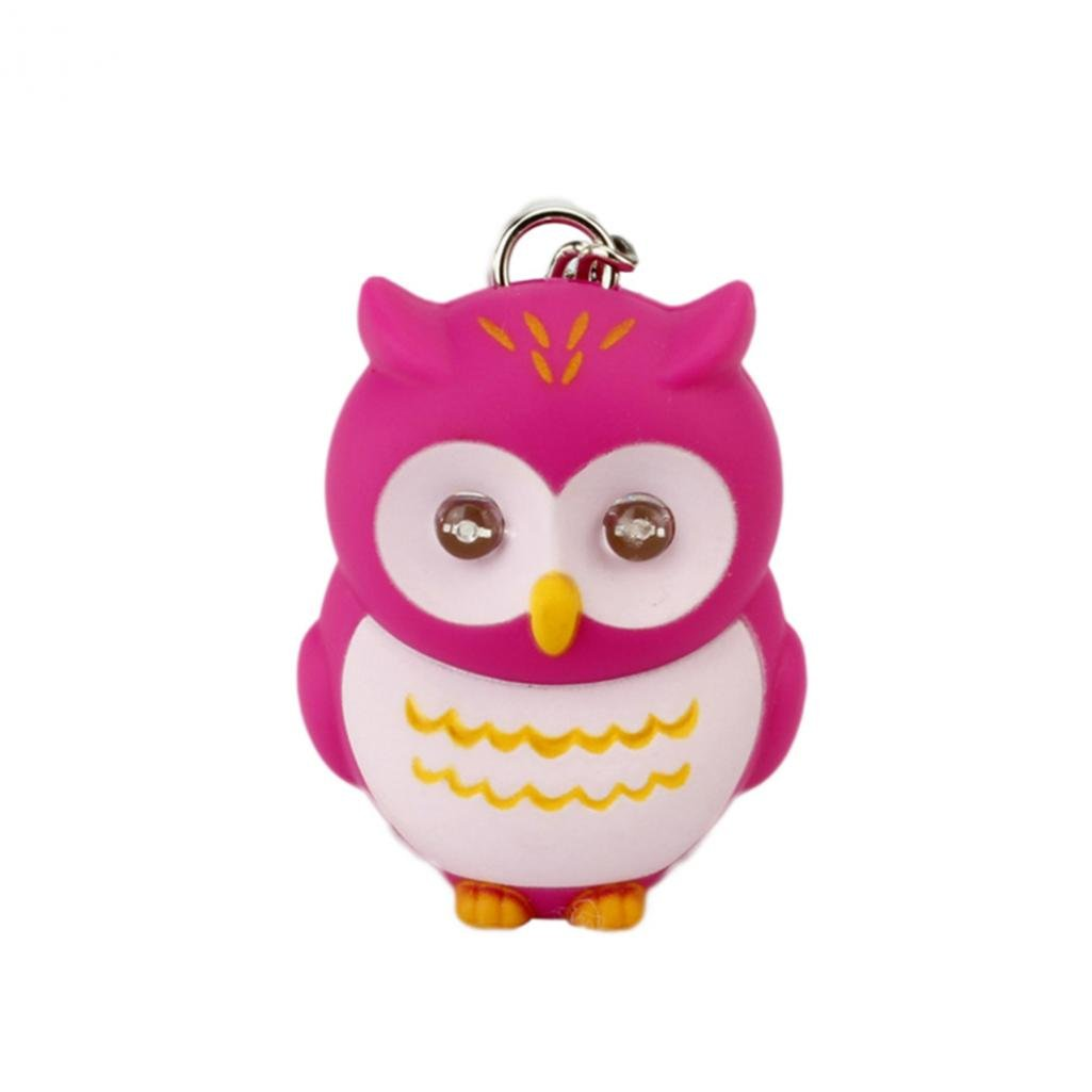 Colorido Fashion Cute Owl LED Eye with Sound Keychain Children Creative Gift (Rose)
