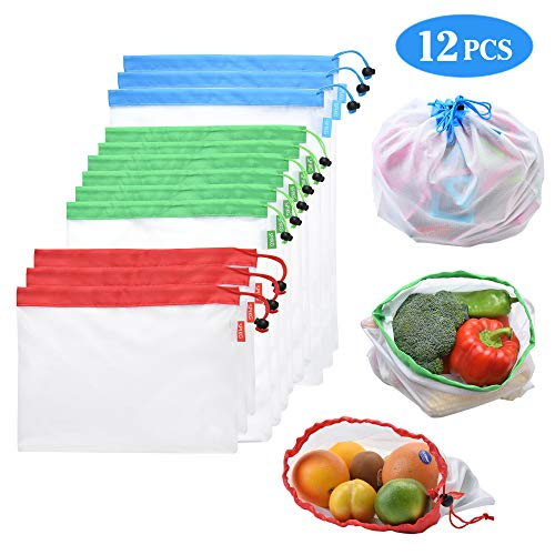 SPIKG Reusable Mesh Produce Bags Washable Eco Friendly Bags for Grocery Shopping Storage Fruit Vegetable Toys(Set of 12 PCS) (Eco Friendly Reusable Bags)