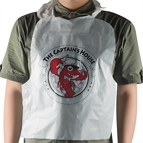 Belinlen 100 Pack Disposable Plastic Lobster Bibs Protect Clothes from Butter and Juice etc. ()