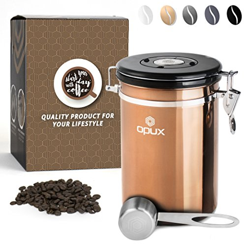 OPUX Coffee Canister | Coffee Jar, Airtight Coffee Bean Container with Vacuum Seal | Stainless Steel Coffee Ground Vault Jar with One Way CO2 Release and Scoop (Large 21 oz Copper)