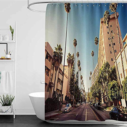 Jouiysce Shower Curtains Nature Theme Urban,A Street in Beverly Hills California Palm Trees Houses Famous City Photo,Light Blue Peach Green W72 x L72,Shower Curtain for Women