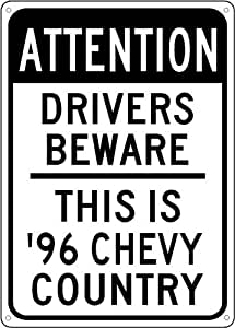 1996 96 CHEVY CAMARO Z28 Drivers Beware Sign - 10 x 14 Inches