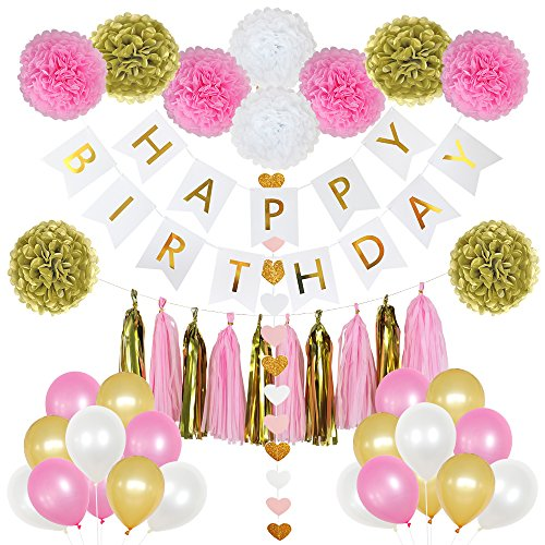 85 Pieces Birthday Party Decoration Set for Girls- includes Happy Birthday Banner, 20 Party Balloons, 10 Paper Pom Poms, 10 Tassels and 32 Heart Paper Garland Perfect For Girls Birthday Party