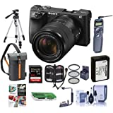 Sony Alpha A6500 Mirrorless Camera with 18-135mm f/3.5-6.3 OSS Lens - Bundle With 64GB SDHC Card, Camera Case, 55mm Filter Kit, Spare Battery, Tripod, Remote Shutter Release, Software Package, More