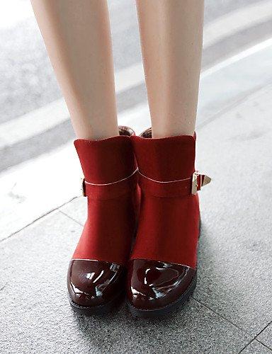 mujer XZZ Punta brown black us9 Redonda Botines de Tacón 5 8 uk7 eu41 Rojo Casual Zapatos Botas Robusto 10 5 5 Cuero Patentado Negro Vestido black Vellón uk6 cn39 eu39 10 us9 Marrón us8 cn42 rqYqEA