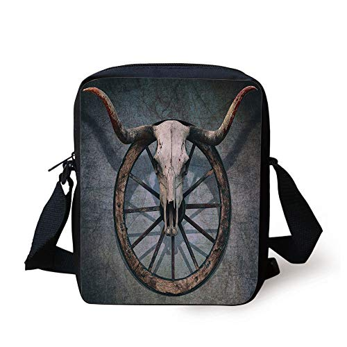Barn Wood Wagon Wheel,Wild West Themed Decor with Bull Skull on Cart Wheel Scratched Wall Decorative,Multicolor Print Kids Crossbody Messenger Bag Purse (Compost Wheels)