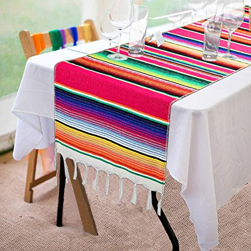 Mexican Serape Table Runner 14 x 84 Inch for Mexican Party Wedding Decorations Outdoor Picnics Dining Table, Fringe Cotton Handwoven Table Runners -