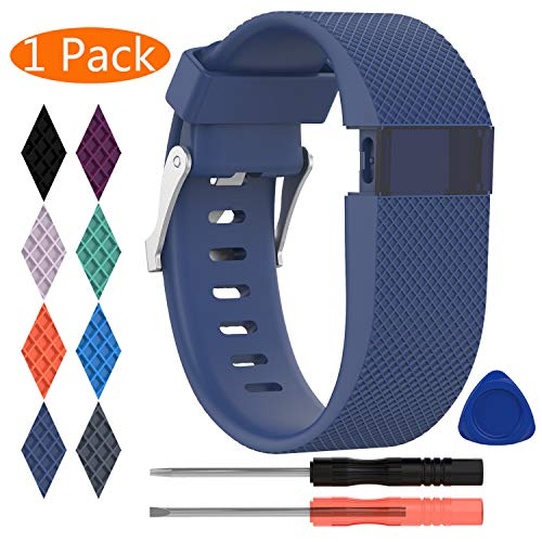 KingAcc Compatible Replacement Bands for Fitbit Charge HR, Soft Silicone Band with Metal Buckle Fitness Wristband Sport Strap Women Men (1-Pack, Dark Blue, Large)