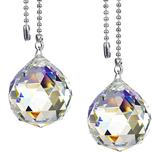 Poolan 2 Pack 40 mm Crystal Clear Ball K9 Grade Beaded Pull Chain Extension Each 1 Meter Length for Ceiling Fan Light (2 Pack, Style D)