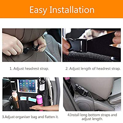 AVNICUD Car Backseat Organizer,Waterproof Car Back Seat Organizer for Kids, 2 Pack Car Seat Back Protector Kick Mats with Clear Tablet Holder and 5 Storage Pockets, Car Travel Accessories: Home Improvement