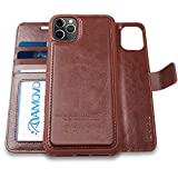 AMOVO iPhone 11 Pro Max Wallet Case [2 in 1 Detachable] Vegan Leather Case for iPhone 11 Pro Max (6.5'') [Wrist Strap] [Kickstand] iPhone 11 Pro Max Flip Case with Gift Box Package (Brown)