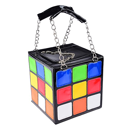 Price comparison product image Garrelett Magic Cube Totes PU Leather Zipper Chain Wallet for Womens Girls Kids,  Colorful Coins Cards Keys Phone Handbags Purses Makeup Cosmetic Organizer Bags