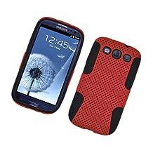 Eagle Cell PHSAMI9300NTBKRD Progressive Hybrid Protective Gummy TPU Mesh Defense Case for Samsung Galaxy S3, Retail Packaging, Black/Red