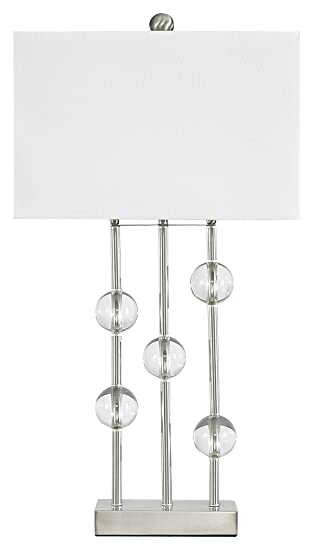 Ashley Furniture Signature Design – Jaala Table Lamp – Crystal Finished – Contemporary – Clear Silver Finish