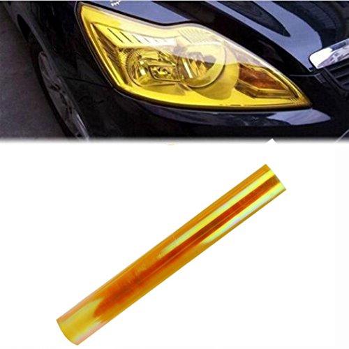 ELOGOOG Car Headlight Fog Lamp Protect Film Vinyl Wrap Overlays Sheet(Red/Yellow) (Yellow) (Headlamp Overlays)