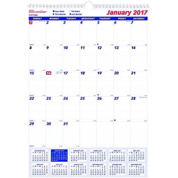 brownline 2017 monthly wall calendar 12 x 17 inches c171102 17 office products. Black Bedroom Furniture Sets. Home Design Ideas