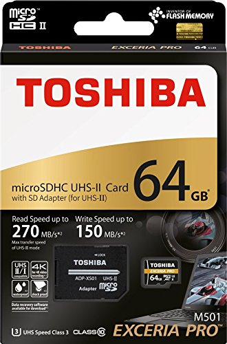 Toshiba 64GB 64G Exceria Pro M501 with SD Adapter microSDHC UHS-II UHS2 U3 Card 4K Class10 microSD micro SD Card Memory Card Read 270MB/s Write 150MB/s ( THN-M501G0640A7 )