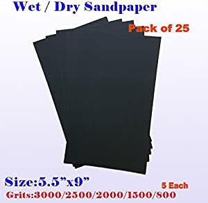 """10PC 1//2 SHEET 5 1//2/"""" x 9/"""" ASSORTED WET OR DRY SANDPAPER 800 GRIT TO 2000 GRIT"""