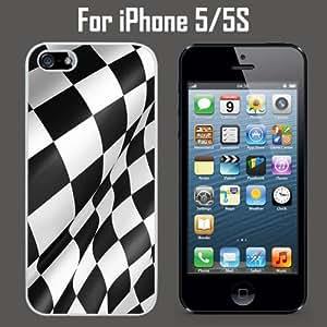 Checkered Flag Custom Case/ Cover/Skin *NEW* Case for Apple iPhone 5/5S - White - Rubber Case (Ships from CA) Custom Protective Case , Design Case-ATT Verizon T-mobile Sprint ,Friendly Packaging - Slim Case