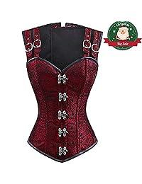 Women Steampunk Brocade Corset Top Hourglass Steel Boned Overbust Bustiers Vest