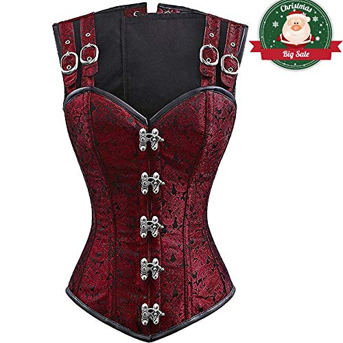 MISS MOLY Women's Steampunk Gothic Brocade Corset Top Hourglass Steel Boned Lingrie Sexy Overbust Bustier Vest Red M