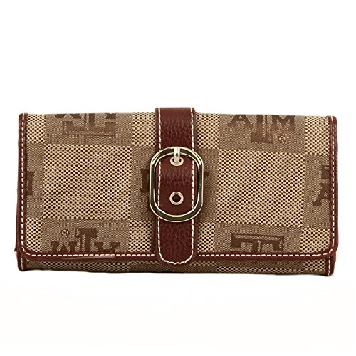 Texas A&m Aggies Woven Jacquard - Sandol Texas A&M Aggies Leather and Jacquard Fabric Ladies Marlo Wallet
