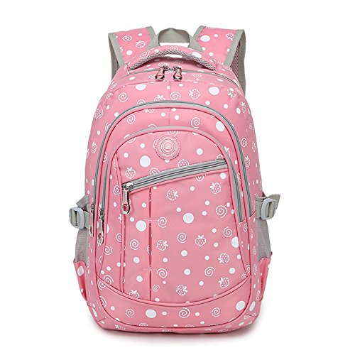 Dots Strawberry Printed Girls Backpack For Children Kids Elementary School Bags Bookbags (Pink 2)