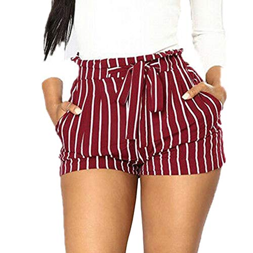 (Viloong Women ' S Summer High Waist Pin Stripe Tie Up Wide Shorts with Pockets (red White Stripe, M))