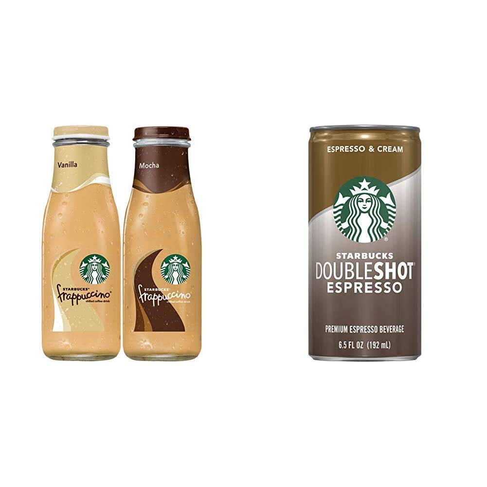 Starbucks Frappuccino, 2 Flavor Variety Pack, 9.5 Fl Oz (15 Count) & Doubleshot, Espresso + Cream, 6.5 Fluid Ounce, Pack of 12