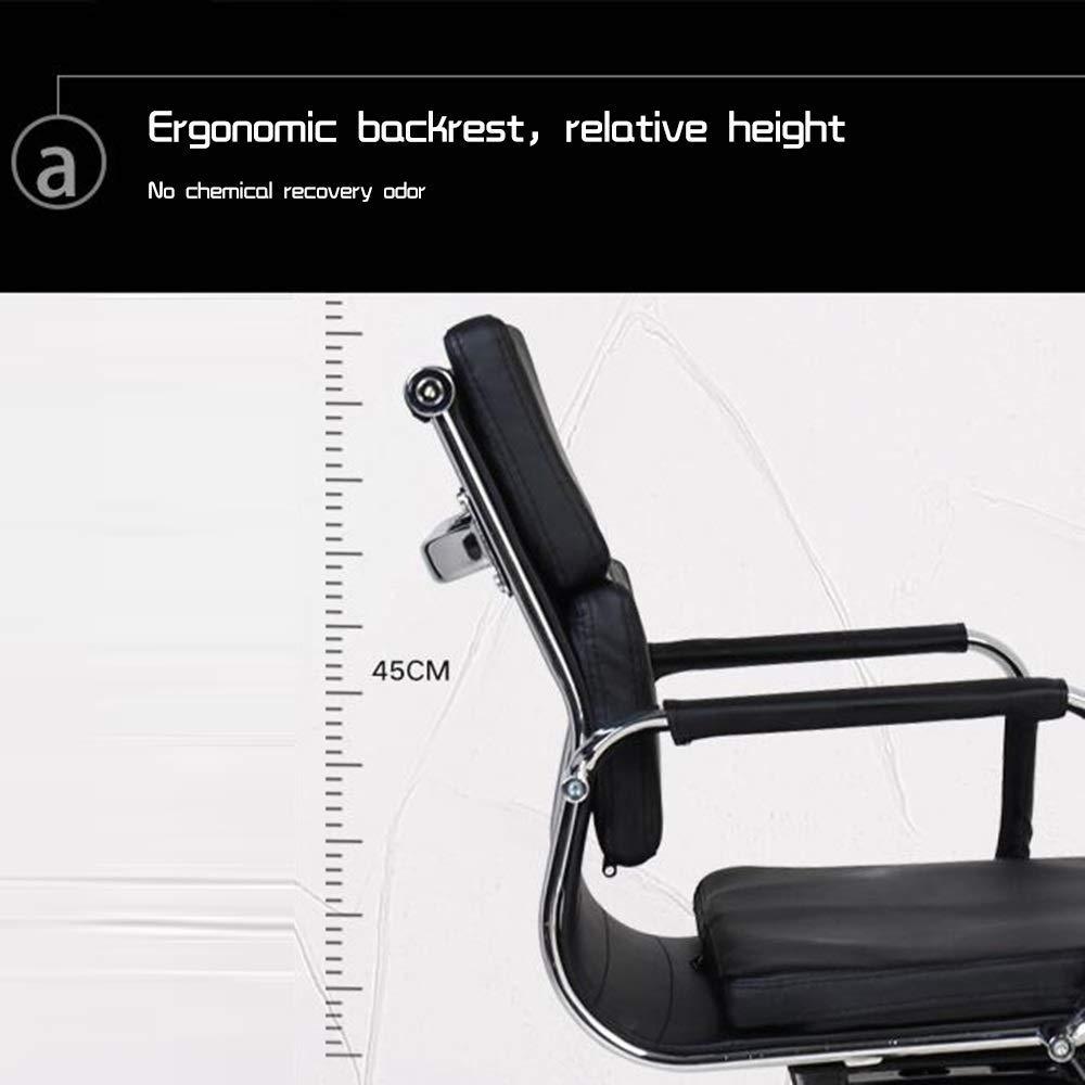 JIEER-C stol kontorsstol läder dator skrivbord stol rosett fot ergonomisk kontorsstol dubbel kudde hög rygg excutive spelstol för kontor mötesrum, brun Vitt