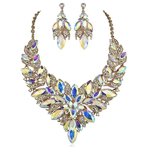 (Janefashions Luxury Austrian Rhinestone Statement Bib Necklace Earrings Set N957 Gold Plated (AB White))
